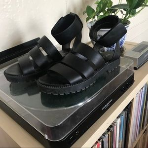 Vegan Leather Sandals With Chunky Sole